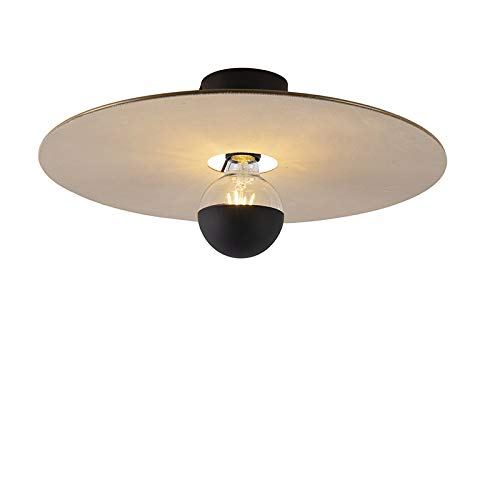 QAZQA Modern Plafondlamp zwart met taupe platte kap 45 cm - Combi Staal/Stof Rond Geschikt voor LED Max. 1 x 60 Watt