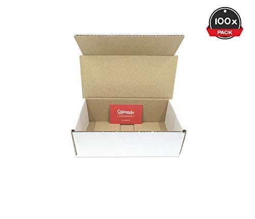 Cajeando | Pack de 100 Cajas de Cartón Automontables | Tamaño 21 x 10 x 7 cm | Canal Simple y Color Blanco | Para Mudanzas y Envíos | VARIOS PACKS | Fabricadas en España