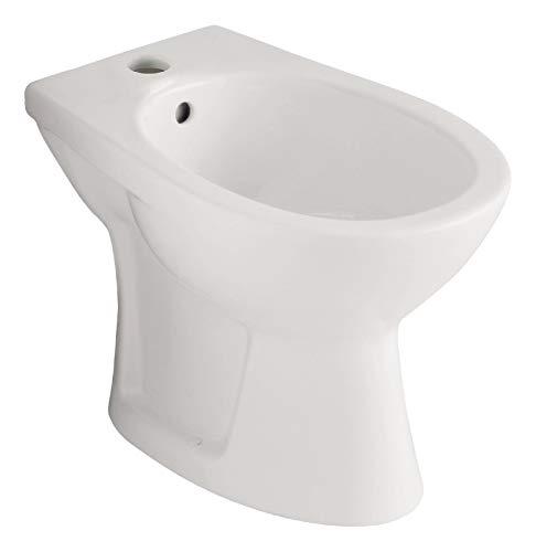 Calmwaters® - Universal - Bidet aus Keramik mit Hahnloch und Überlauf in Weiß zur stehenden Montage - 06AB3489