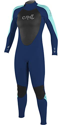 O';Neill Dames Epic 4/3 4/3mm Back Zip GBS wetsuit Navy Aqua - Smooth Skin FluidFlex ? Firewall - Krypto Knee Padz