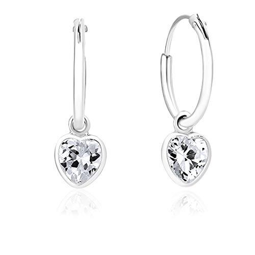 DTPsilver® KLEINE Creolen Ohrringe 925 Sterling Silber mit Swarovski® Elements Kristall Herz - Mädchen - Dicke 1.2 mm - Durchmesser 12 mm - Farbe : Klar