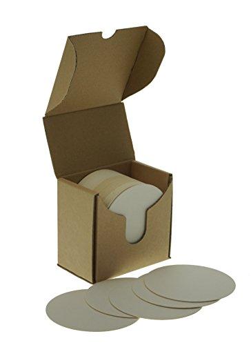 ZEZAZU Posavasos redondos de papel blanco de 8,89 cm (caja de 50) para bebidas, proyectos de manualidades, papel de tipografía, diseños de azulejos Zen y mini tablero de arte