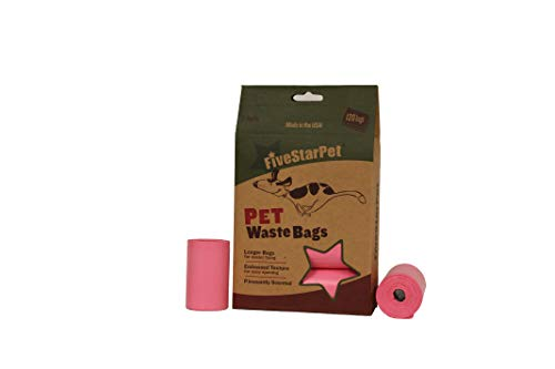 Five Star Pet 9' x 14.25' Made in USA Easy Open Poop Bags Dog Waste Bags, 8 Refill Rolls, 120 Bags