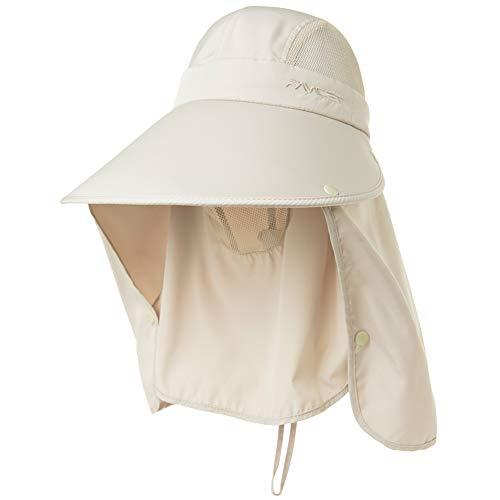Summer Fishing Sun Visor for Women Men UV Protective Foldable Waterproof Hunting Sunhat Face Cap Ladies Beige