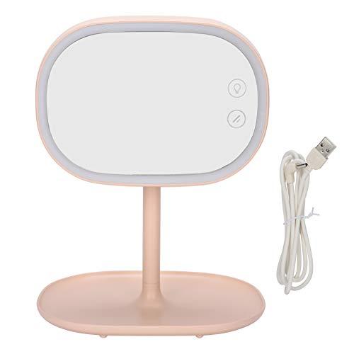 Emoshayoga Espejo cosmético Función de Almacenamiento de luz Lámpara de Mesa Espejo de Maquillaje portátil Dormitorio del hogar