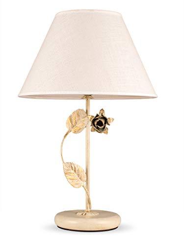 Helios Leuchten 4037510 Florentiner LED Tischleuchte antik-weiss | florale Lampe Leuchte Tischlampe | Nachttischlampe Landhaus | Schreibtischleuchte Stoffschirm Leinen