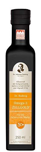 Dr. Budwig Omega-3 Zellgold - Das Original - Reformprodukt des Jahres 2020! Abgestimmt auf den erhöhten Nährstoffbedarf der Generation 50plus. Reduziert nachweislich den erhöhten LDL-Cholesterinspiegel - Für die Generation 50plus, 250 ml