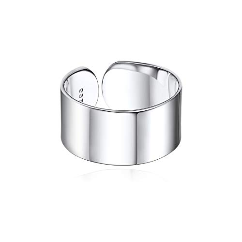 ChicSilver 10mm Ancho Banda Anillo Plata de Ley 925 Chapado en Platino para Dedos Acabado Púlido Smooth Regalo Moderno