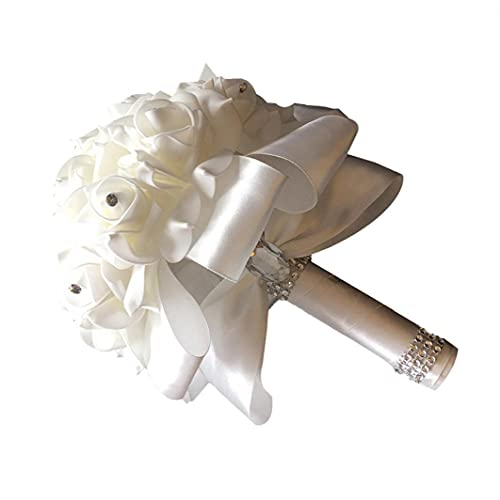 Hainice Sposa Azienda Fiori da Sposa Bouquet Spilla della Holding della Mano Fiori di Seta Bella Nastro Artificiali per la Sposa Matrimonio - Bianco