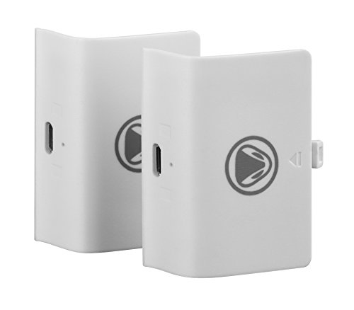 Snakebyte Xbox One Twin Battery Pack - 2 Rechargeable Battery Packs for Xbox One, S, Xbox One X and Elite Controllers (White)
