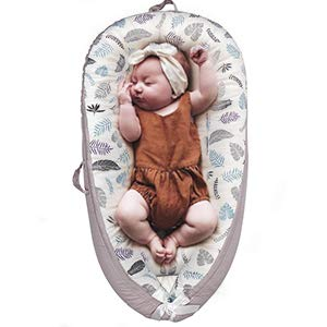 Lion Paw Baby Lounger Baby Nests Soft Infant Lounger Bassinet 100% Cotton Portable Soft & Breathable Newborn Crib, Co-Sleeping Baby Bassinet (0-24 Months)-Feather