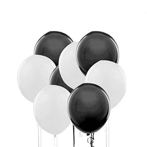 NUOLUX Party Palloncini,Palloncino Latex Bianco e Nero per la Decorazione del Partito di Nozze, 50 Pezzi