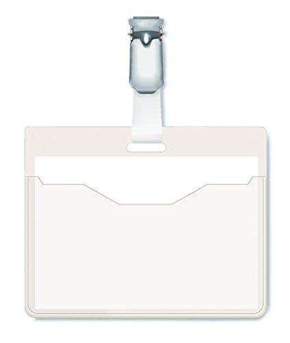 Durable 810619 Namensschild (mit Clip, 60 x 90 mm, Kunststoff) Packung à 25 Stück transparent