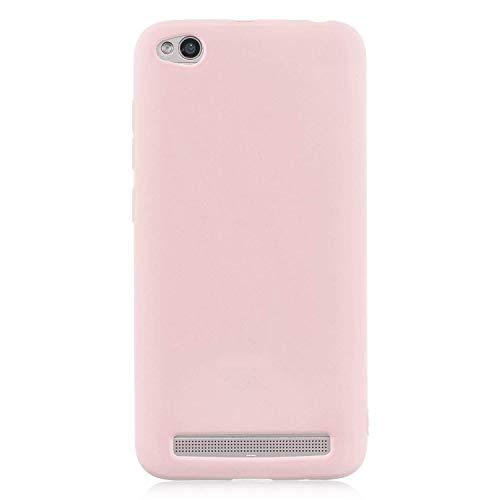 cuzz Funda para Xiaomi Redmi 5A+{Protector de Pantalla de Vidrio Templado} Carcasa Silicona Suave Gel Rasguño y Resistente Teléfono Móvil Cover-Rosa Claro