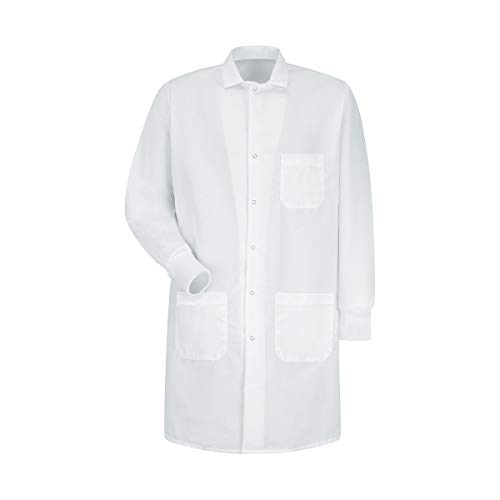 Red Kap Unisex Specialized Cuffed Lab Coat with 3 Front Pockets, White, Large