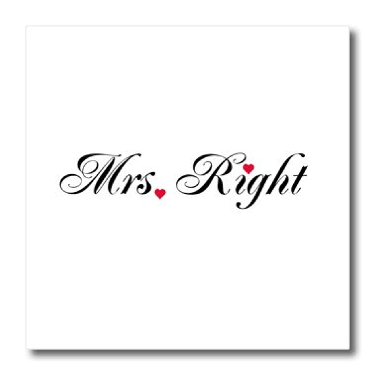 3dRose ht_112877_2 Mrs. Right-Part of Mr. and Mrs. Gift Set for Romantic Couple-Iron on Heat Transfer for White Material, 6 by 6-Inch