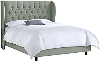 Asghar Furniture - Emil Wingback Bed - Grey, King Without Mattress