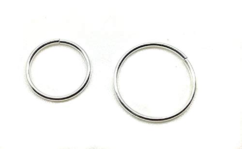 2 x Sterling Silver Nose Rings 8mm 10mm Seamless Piercing Body Jewellery