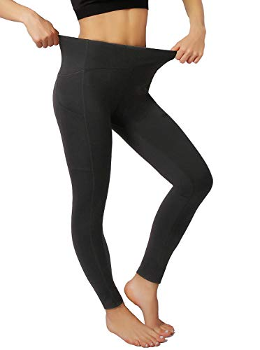 Andy&Anne Women's Long Sports Leggings Sports Tights Running Trousers for Fitness Gym Running Yoga with Pocket and Mesh High Waist 3/4 22 Inch Capris Yoga Pants Women's - Black - S