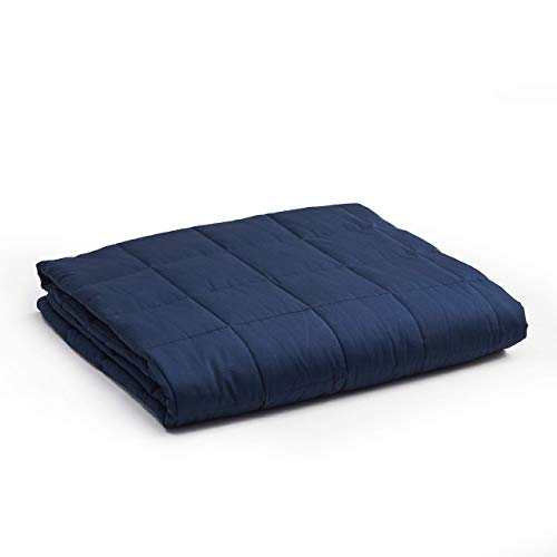 YnM Weighted Blanket — Heavy 100% Oeko-Tex Certified Cotton Material with Premium Glass Beads (Navy, 48''x72'' 15lbs), Suit for One Person(~140lb) Use on Twin/Full Bed