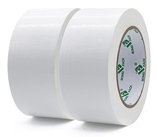BOMEI PACK ガムテープ布テープホワイトヘビーデューティーパッキングテープ防水PEダクトテープ梱包テープ50mmx25m2ロール