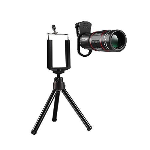 LXHJZ Telescopio binoculares para teléfono, Lente Vidrio HD Alta Potencia 18 x 25, Prisma BAK4 con Soporte para teléfono, trípode para observación Aves, Caza, Camping, Viajes, Vida Silvestre