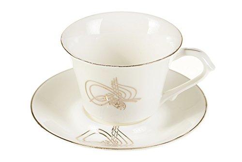 Almina Mokkatassen-Set GOLD Osmanli Osmanisches Reich Tughra AL-8006 Spülmaschinenfest Espresso Tassen Mocca Türk Kahvesi