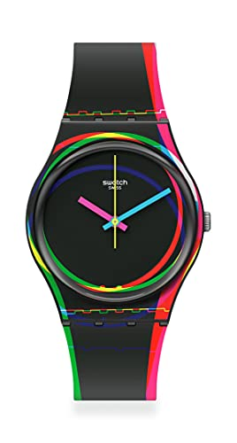 Swatch Correa de silicona de cuarzo estándar, negro, 16 reloj casual (Modelo: GB333)