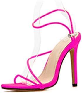 2020 New Women's Sandals Open Toe Ankle Strap High Heels Solid Stilettos Ladies Fashion