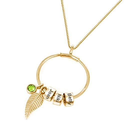 Fiauli Collar de diamantes de imitación grabados con nombre para mujer, con colgante de hojas, ligero, simple, para mujer, collar de letra, regalo para fiestas, bodas, Aleación,