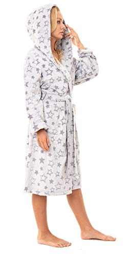 Damen Bademantel mit Kapuze aus weichem Fleece Gr. Large, Grau / Gold Glitter