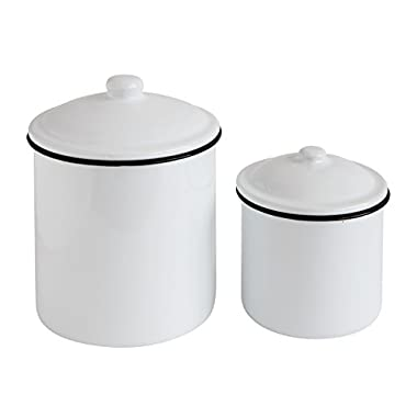 Creative Co-Op Enameled Canister Set, White