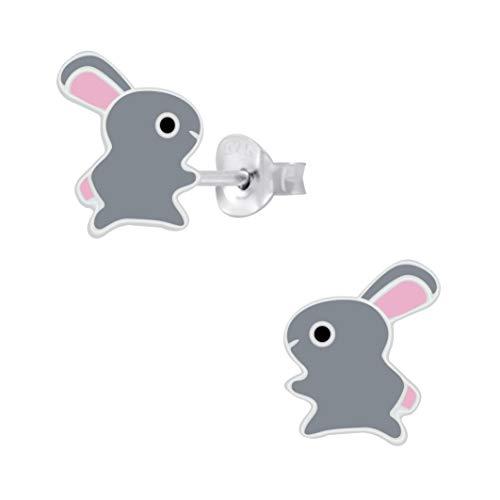 Laimons Pendientes infantiles de conejo gris rosa 7 mm plata de ley 925