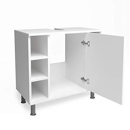 Vicco Waschtischunterschrank Fynn Badschrank Badezimmerschrank Waschbeckenunterschrank Badmöbel (Weiß matt)
