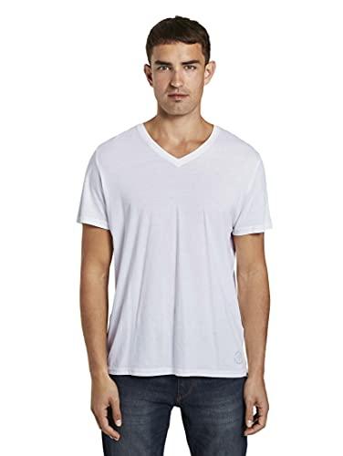 TOM TAILOR Herren Double Pack V-neck T Shirt, Weiß (White 2000), L EU