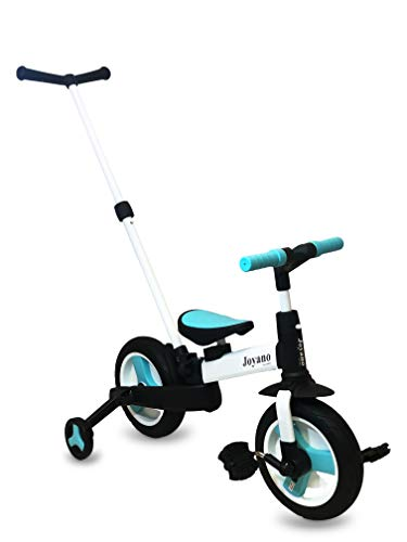 Joyano 5-in-1 Foldable Kids Tricycle Indoor/Outdoor Pushbike Balance Bike Baby Trike Baby Toddler Ride-On Bike Multifunctional with Removable Pushbar for 2-8 Yrs(Blue)