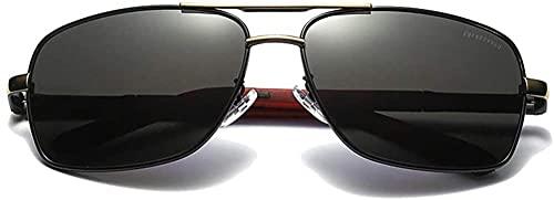Gafas de sol polarizadas de material de metal nuevo con montura dorada/plateada, lentes negras, lentes de conducción para hombres (color plateado)