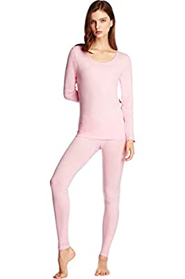 SANQIANG Women's Exposed Waistband Thermal Underwear Set Cotton Long Johns Set Base Layer Tagless Top & Bottom(US Size S (Tag Reads L),Lightpink)