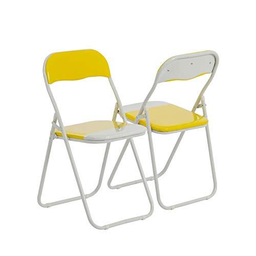 Chaise pliante rembourrée - pour le bureau - jaune/blanc - lot de 2