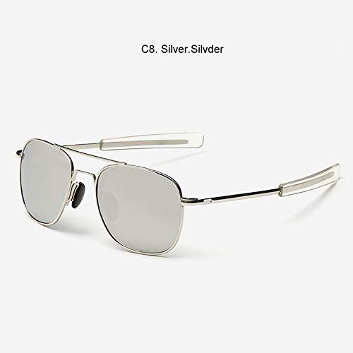 Gafas De Sol Militar del Ejército Americano Plata Polarizado Gafas De Buceo Aviación Gafas De Sol Clásico Marco De Aleación