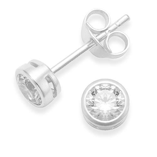 Heather Needham 5557CL - Pendientes de plata de ley con circonita cúbica de 5 mm, con bonitos pendientes de plata maciza, tamaño: 5 mm, caja de regalo