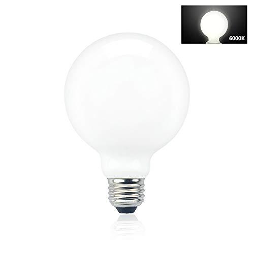 Luxvista E27 G95 10W Globo Grande Bombilla LED, Vintage Lámpara LED de filamento, Iluminación Omnidireccional, Iluminación Doméstica con 360°para Sala de conferencias/Cafe/Galería/Hotel (Blanco Frío)