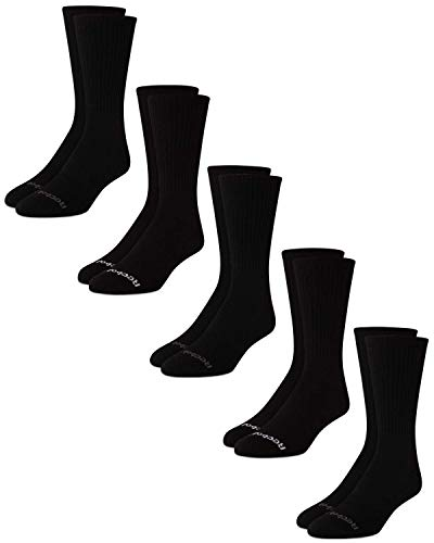 Reebok Men's Cushioned Comfort Athletic Performance High Crew Socks (5 Pack) (Classic Black, Shoe Size: 6-12.5)