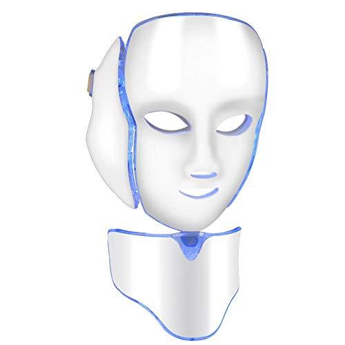 Maschera di fronte di terapia della luce del LED, 7 colori di ringiovanimento della pelle acne lentiggini pori rughe trattamenti viso cura della pelle LED maschera