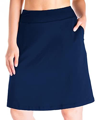 "Yogipace Women's 4 Pockets UV Protection 20"" Modest Knee Length Skirt Athletic Running Golf Tennis Skort Zippered Pockets, Navy Blue, Size XL"