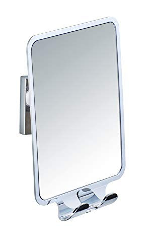 WENKO Vacuum-Loc Antibeschlag-Spiegel Quadro, Kosmetik-Spiegel Dusche und Badewanne, mit 2 Haken, ohne Bohren, aus hochwertigem Kunststoff, 14 x 19.5 x 8 cm