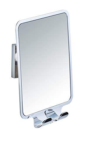 WENKO Vacuum-Loc® Antibeschlagspiegel Quadro - beschlagfreier Duschspiegel, Rasierspiegel, Kunststoff (ABS), 14 x 19.5 x 8 cm, Glänzend