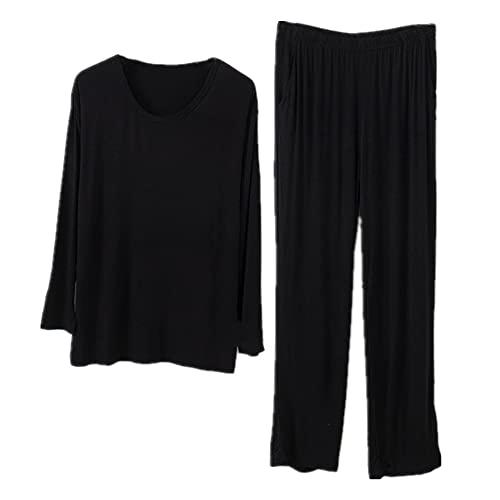 Traje de pijama de hombre de gran tamaño O-cuello primavera servicio hogar verano suave dormir top y pantalones, Negro, XX-Large