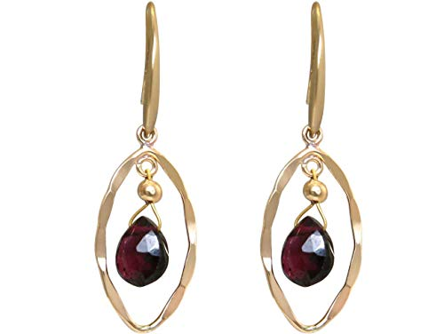 Gemshine Ohrringe mit roten Granat Edelstein Tropfen. Ohrhänger aus 925 Silber hochwertig vergoldet. Nachhaltiger, qualitätsvoller Schmuck Made in Germany