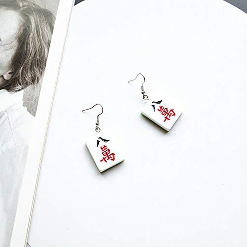 AllForYou 1 Paar lustige Nette chinesische Mahjong Ohrringe mädchen handgemachte gürtel trendy geometrische Drop baumeln Ohren für Frauen Damen e665